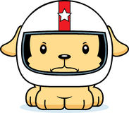 Pilote de voiture de course fâché Puppy de bande dessinée Images stock