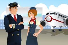 Pilote et hôtesse Image libre de droits