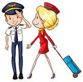 Pilote et steward (hôtesse de l'air) Photographie stock