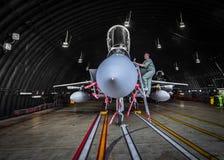 Pilote vérifiant son avion de chasse F15 Images libres de droits