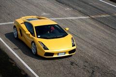 Piloter de véhicule sur un champ de courses Photo stock