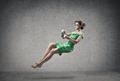 Piloter le femme Photo libre de droits
