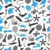 Piloter les symboles bleus et gris de thème de thème et le modèle sans couture eps10 d'icônes Photographie stock libre de droits