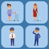 Piloter och teckenet f?r flygbolag f?r stewardessvektorillustration hyvlar folk f?r flygv?rdinnor f?r lyxfnask f?r luft f?r perso vektor illustrationer