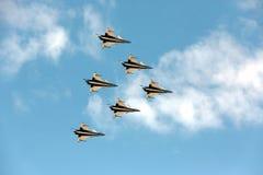 Pilotes acrobatiques aériens d'équipe de F-16 Gripen et du 1er août Photos stock