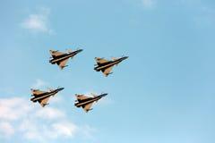 Pilotes acrobatiques aériens d'équipe de F-16 Gripen et du 1er août Photographie stock