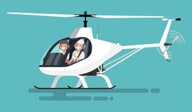 Pilotes dans l'hélicoptère Photo stock