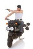 Pilotez par le tir sur le scooter Photos stock