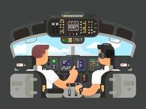 Piloti nella progettazione piana della cabina di pilotaggio Immagini Stock Libere da Diritti