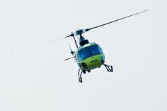 Piloting of Eurocopter AS-350 on airshow Stock Photos