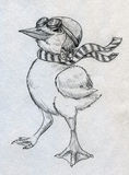 Piloto cartoonish valiente del anadón ilustración del vector