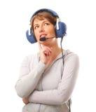 Piloto com auriculares Imagem de Stock Royalty Free