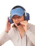 Piloto con el receptor de cabeza Imágenes de archivo libres de regalías