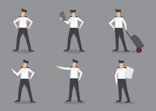 Piloto da linha aérea na ilustração uniforme dos caráteres do vetor Imagem de Stock Royalty Free