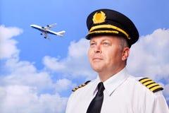 Piloto da linha aérea Fotografia de Stock