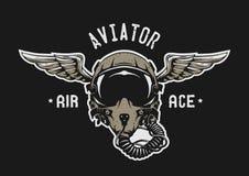 Piloto de caza Helmet ilustración del vector