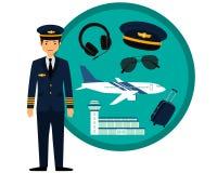 Piloto del aeroplano en uniforme Imágenes de archivo libres de regalías