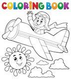 Piloto del libro de colorear en aeroplano retro ilustración del vector