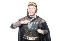 Piloto divertido con película Imagen de archivo