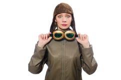 Piloto divertido de la mujer aislado en blanco imágenes de archivo libres de regalías