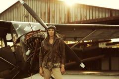 Piloto do avião do vintage Imagens de Stock Royalty Free