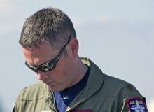 Piloto dos aviões de lutador táticos da ave de rapina de Lockheed Martin F-22 Fotografia de Stock Royalty Free