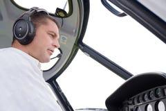 Piloto em aviões dos controles imagens de stock
