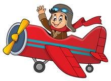 Piloto en la imagen retra 1 del tema del aeroplano ilustración del vector