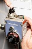 Piloto en un calentador de agua Fotos de archivo libres de regalías