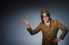 Piloto engraçado com óculos de proteção Fotografia de Stock Royalty Free