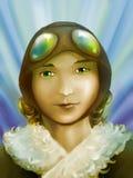 Piloto hermoso de la muchacha Imagenes de archivo