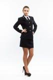 Piloto joven de sexo femenino hermoso de la línea aérea Fotos de archivo libres de regalías