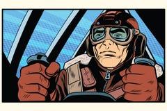 Piloto militar retro do aviador ilustração royalty free