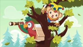 Piloto Monkey Tree Forest Search Vetora ilustração stock