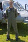 Piloto não identificado do helicóptero após a demonstração das contramedidas de mina durante a semana 2014 da frota Imagens de Stock Royalty Free