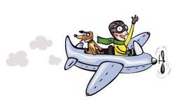 Piloto y perro divertidos de la historieta Imágenes de archivo libres de regalías