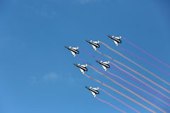 Pilotos Aerobatic da equipe do F16 Gripen e do 1º de agosto Fotografia de Stock Royalty Free