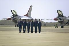 Pilotos do macho e da fêmea da força aérea de seis E.U. Foto de Stock Royalty Free