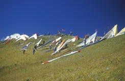 Pilotos en cuesta durante Hang Gliding Festival, telururo, Colorado Imágenes de archivo libres de regalías