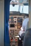 Pilotos en la carlinga plana Fotografía de archivo libre de regalías