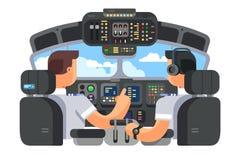 Pilotos no projeto liso do plano da cabina do piloto ilustração stock