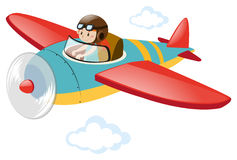 Pilotowy latający samolot w niebie ilustracji