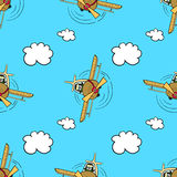 PilotPattern. Hand drawn pattern. Happy pilot flying in the blue sky Stock Photography