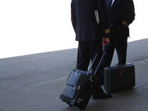 Pilots. Two pilots talking, after returning from a flight Royalty Free Stock Photography