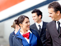 Pilots and air hostesses Stock Photo