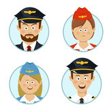 Pilots and air hostesses business professional people avatars sign flat icon Royalty Free Stock Image