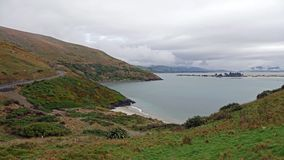Otago Peninsula beach near Dunedin, New Zealand. Pilots Beach, is located just inside the harbour entrance to the south of the head, and many forms of marine stock image