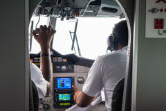 Pilots from the cabin crew of the seaplane at Maldives Royalty Free Stock Photography