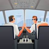 Pilots In Cabin Of Plane Illustration Stock Photos
