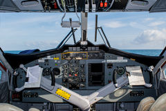 Pilots cabin in the seaplane Royalty Free Stock Image